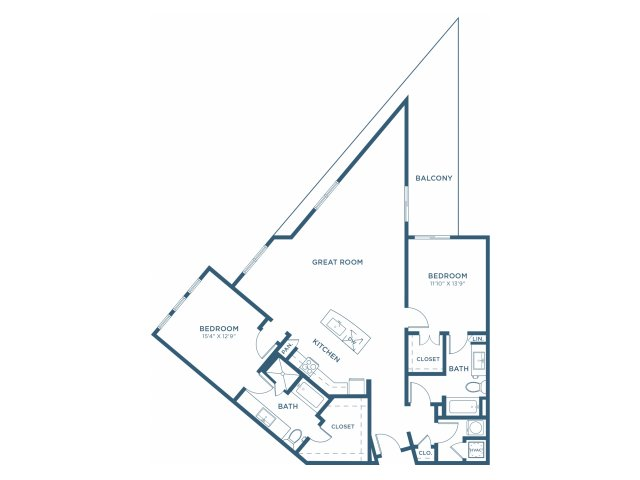 1,455 sq. ft. B11 floor plan