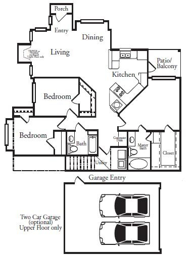 1,398 sq. ft. C1L floor plan