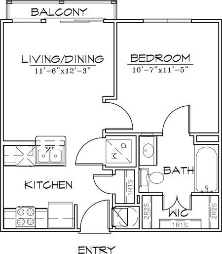 505 sq. ft. floor plan