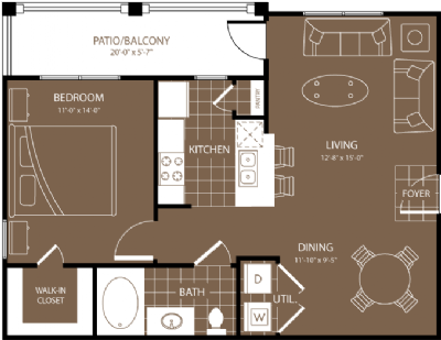 726 sq. ft. Buenos Aires floor plan