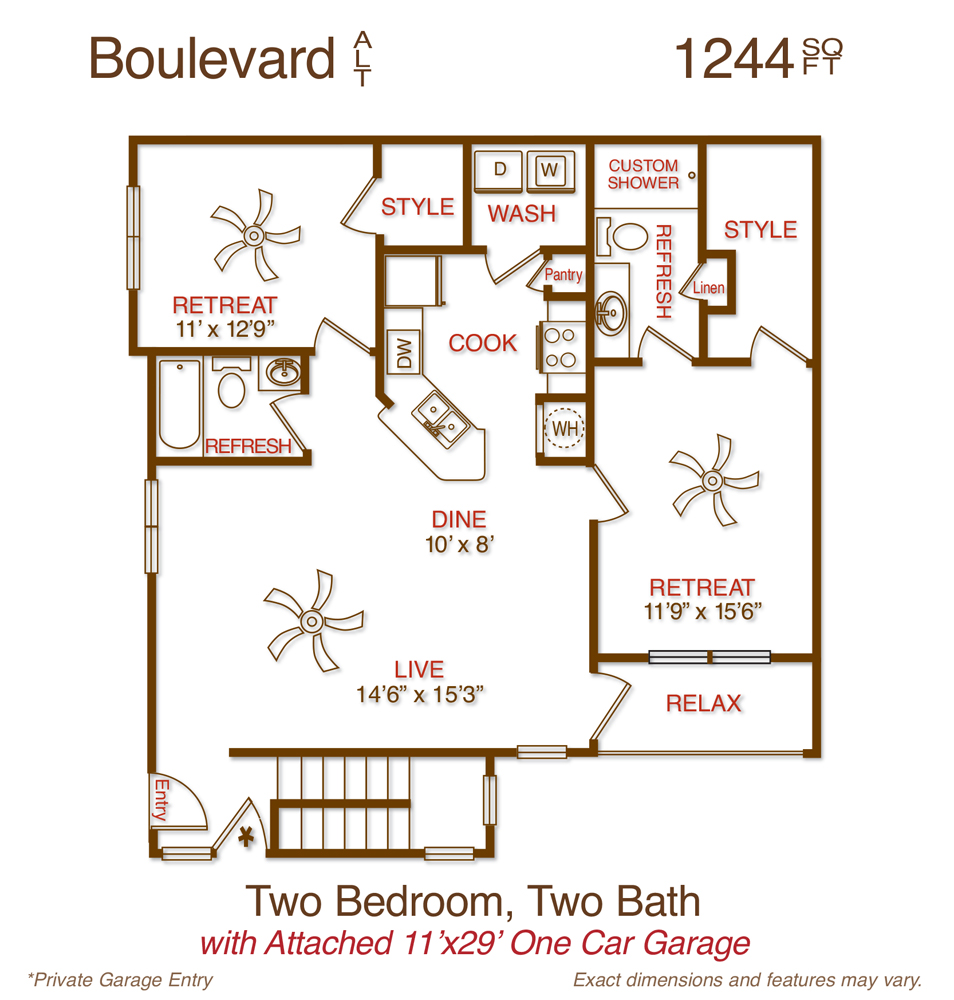 1,244 sq. ft. B2 floor plan