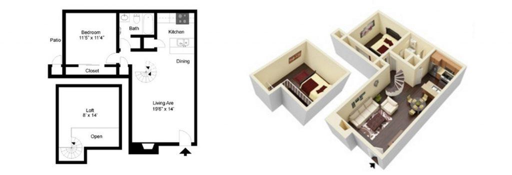 845 sq. ft. B2 floor plan