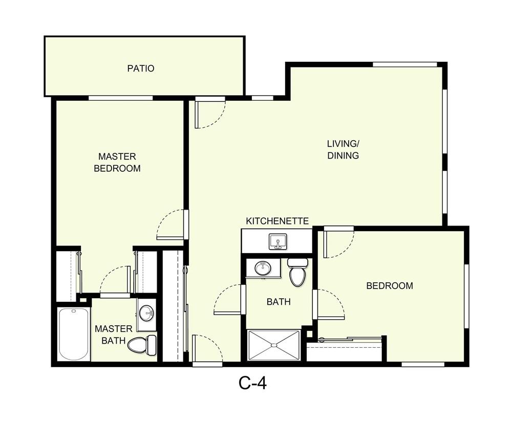 975 sq. ft. C4 floor plan