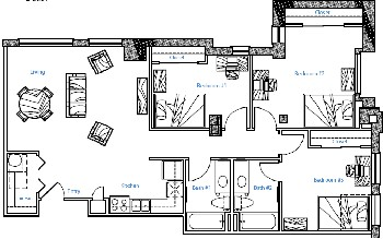 1,146 sq. ft. 2x2 w/Study floor plan