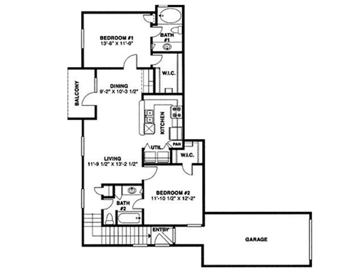 940 sq. ft. 60 floor plan