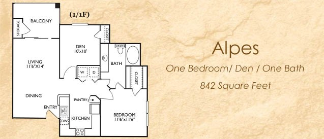 842 sq. ft. 11F floor plan