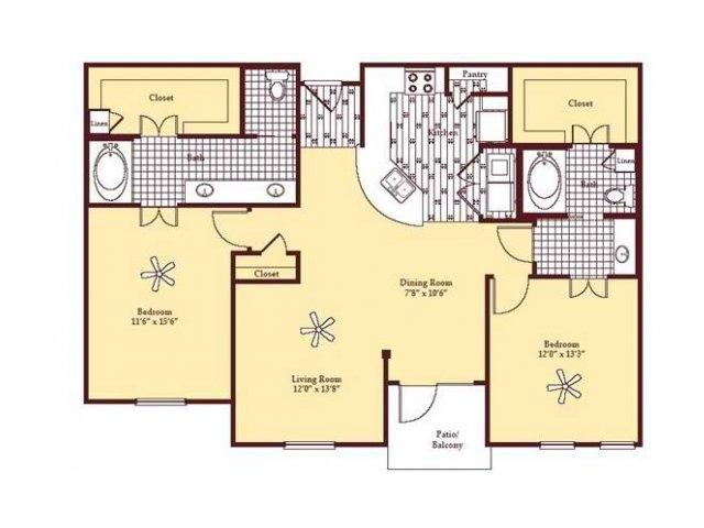 1,295 sq. ft. B2 floor plan