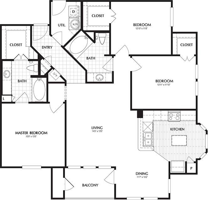 1,439 sq. ft. LOWELL floor plan