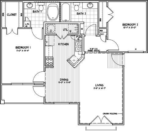 966 sq. ft. C3M floor plan