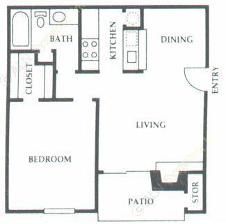 608 sq. ft. B1 floor plan