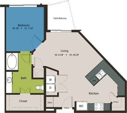794 sq. ft. A7 floor plan