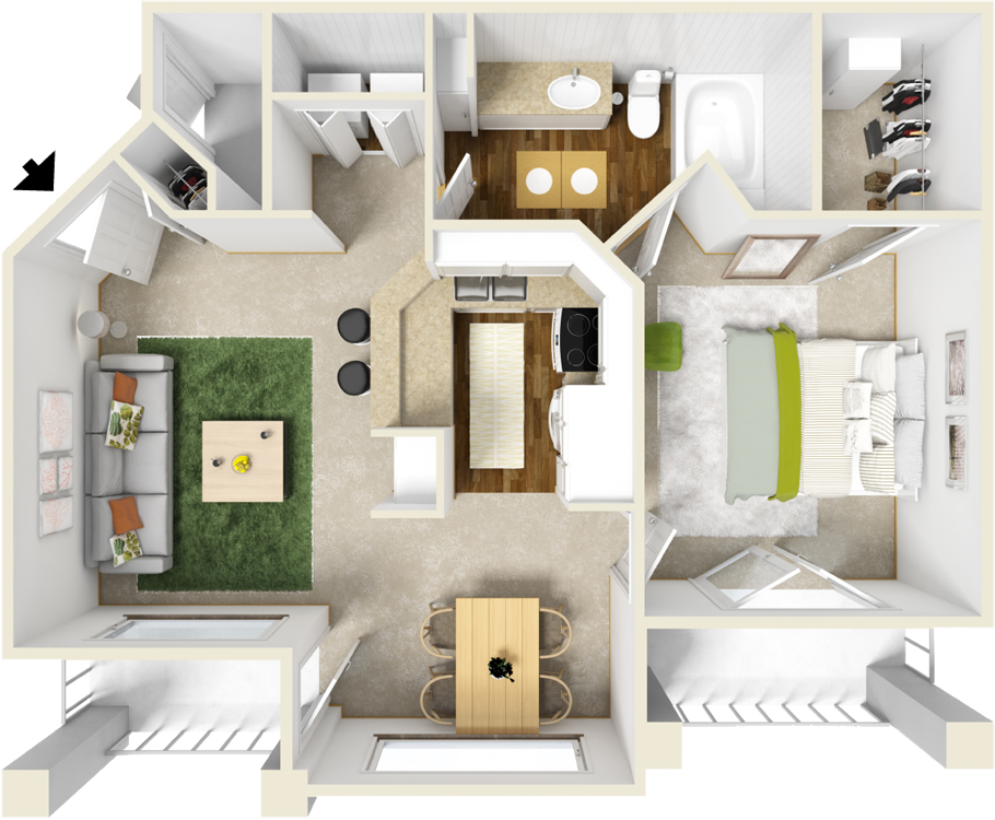 784 sq. ft. C floor plan