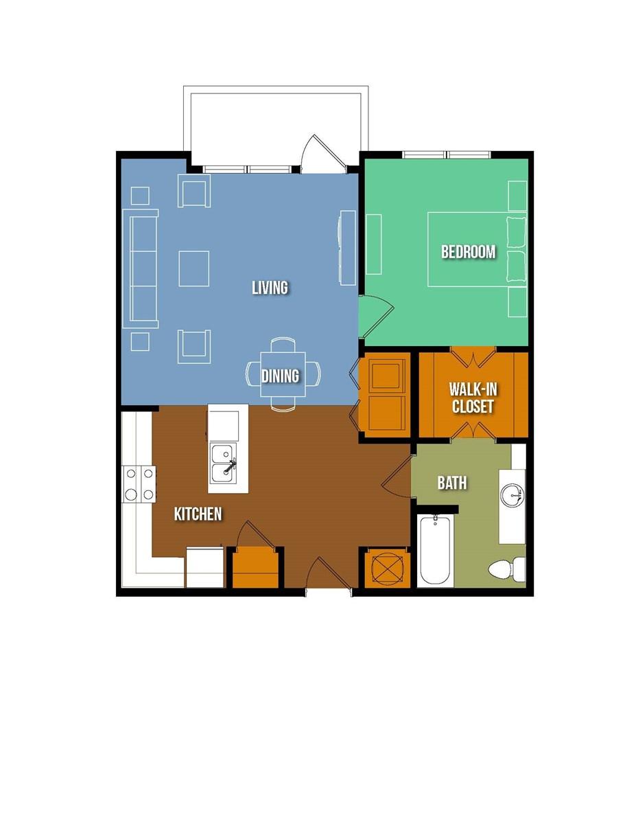 834 sq. ft. Caroline Korbell floor plan