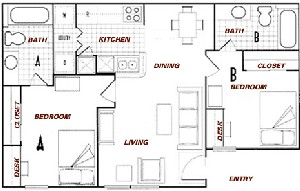 770 sq. ft. B2 floor plan