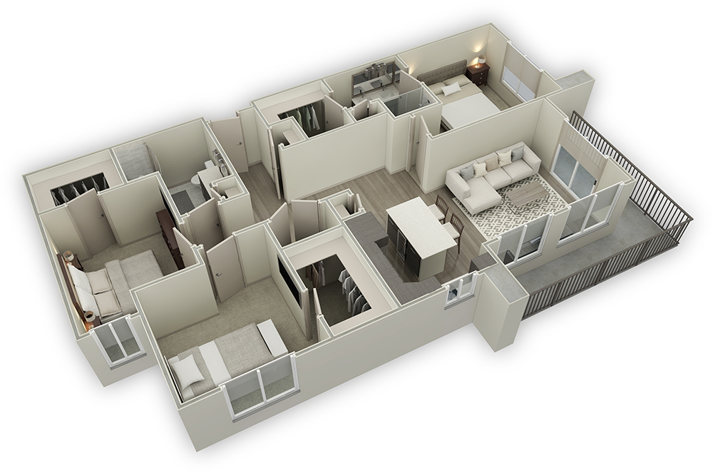 1,449 sq. ft. C1-HC floor plan