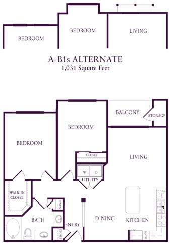 948 sq. ft. A-B1 floor plan