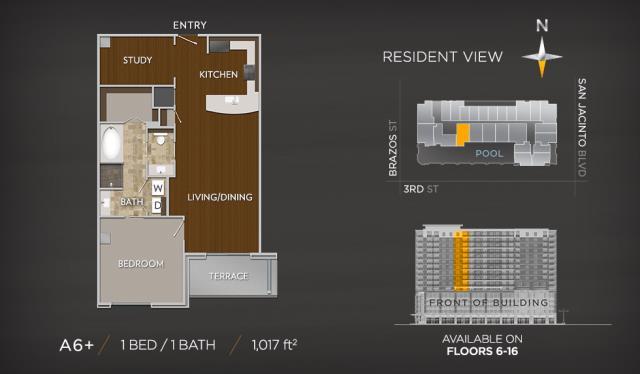 1,017 sq. ft. A7 floor plan