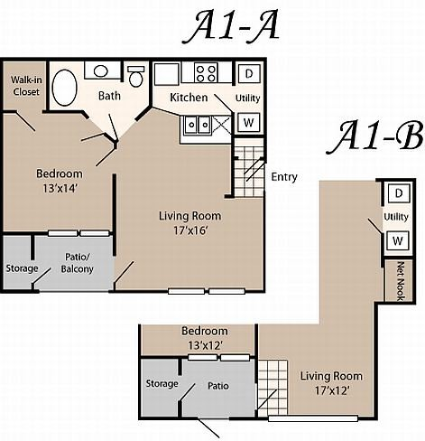655 sq. ft. to 659 sq. ft. A1 floor plan