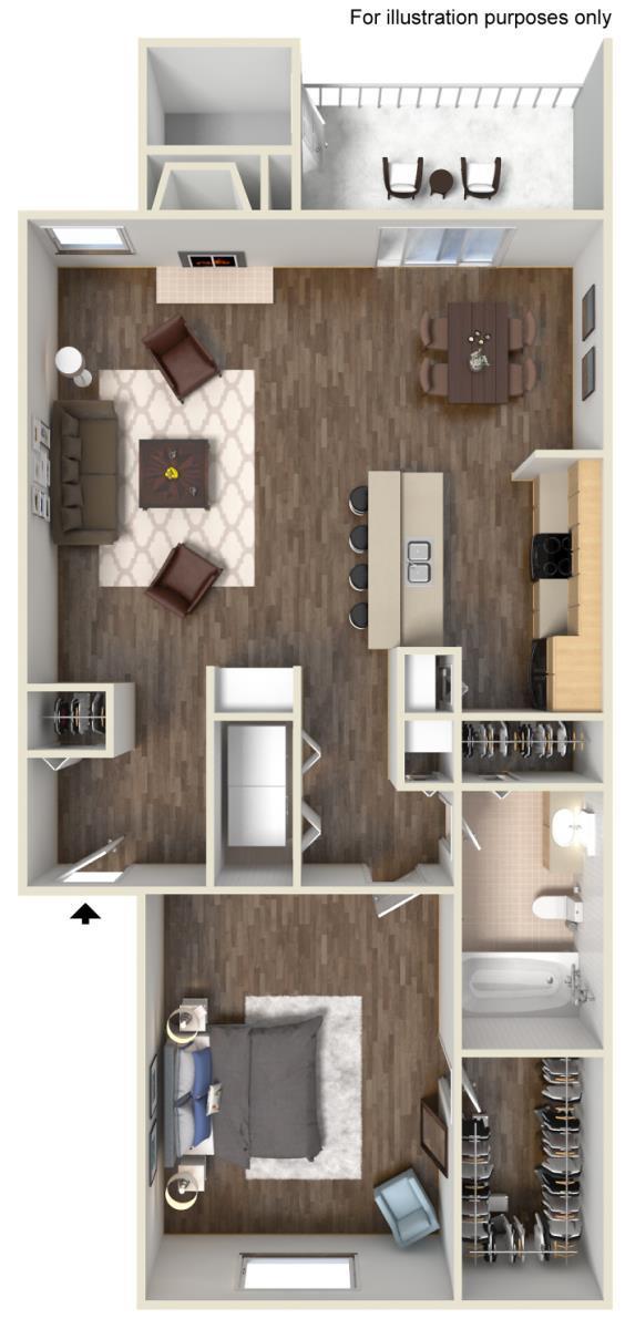 742 sq. ft. D floor plan