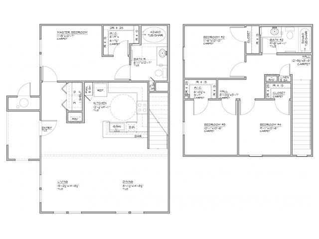 1,489 sq. ft. Bayamon-60% floor plan