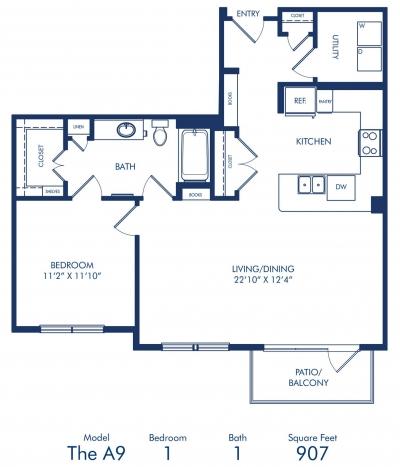 907 sq. ft. A9 floor plan