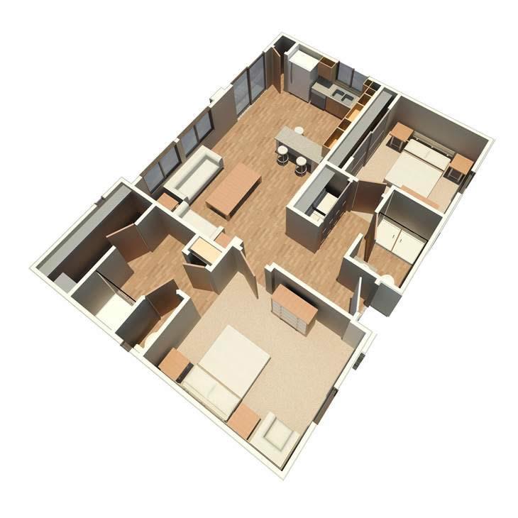 971 sq. ft. Retreat floor plan