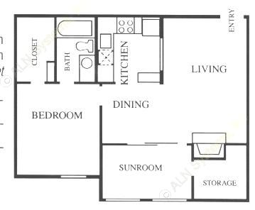 745 sq. ft. A3-Base floor plan