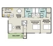 930 sq. ft. Catamaran floor plan