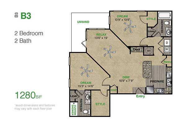 1,280 sq. ft. B3.1 floor plan