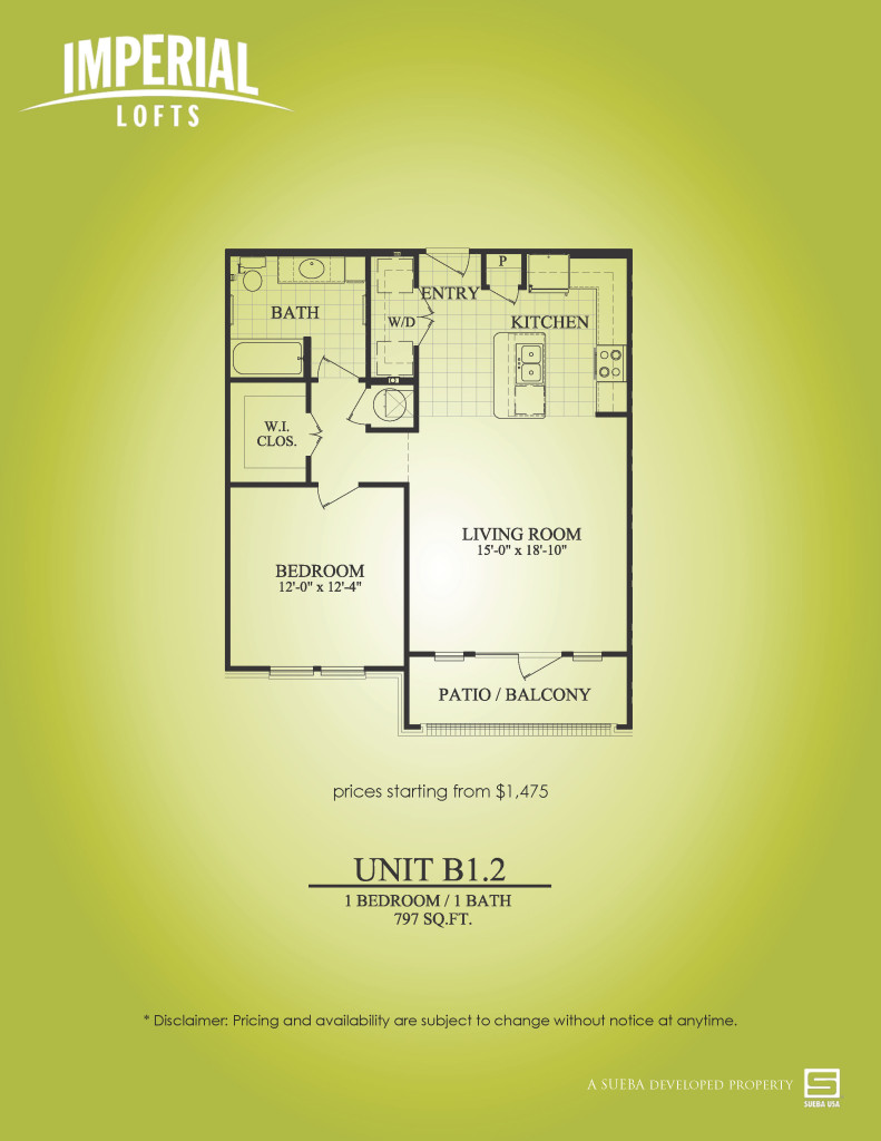 797 sq. ft. B1.2 floor plan
