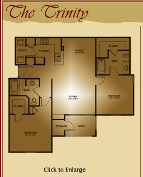 1,175 sq. ft. Trinity floor plan