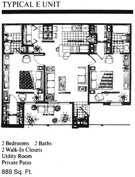 889 sq. ft. E floor plan