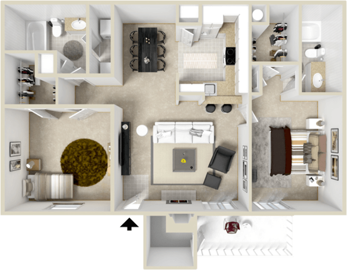 1,035 sq. ft. B3 floor plan