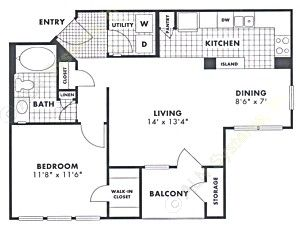 730 sq. ft. Pecan floor plan