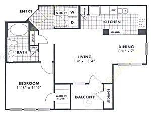 730 sq. ft. Pecan floor plan