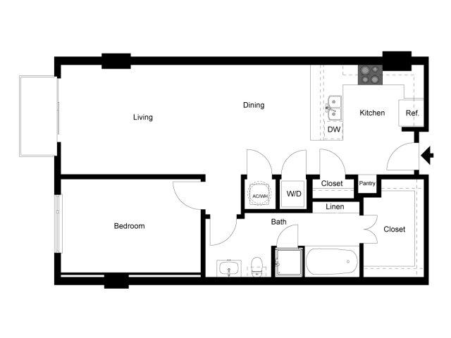 874 sq. ft. 1J floor plan