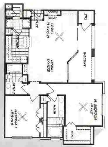 1,183 sq. ft. B3 floor plan