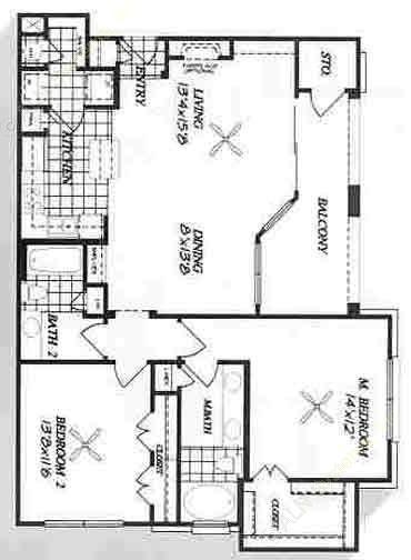 1,183 sq. ft. B3 floor plan