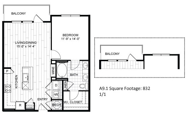 832 sq. ft. A9.1 floor plan