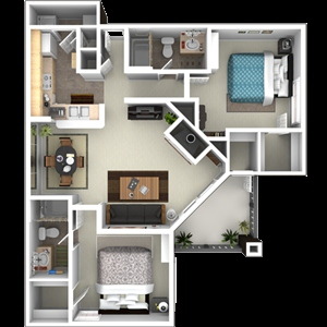 1,069 sq. ft. to 1,121 sq. ft. C2 floor plan