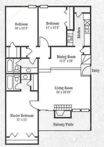 1,286 sq. ft. C2 floor plan