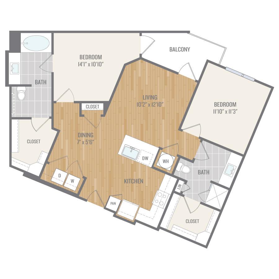 1,088 sq. ft. B3 floor plan