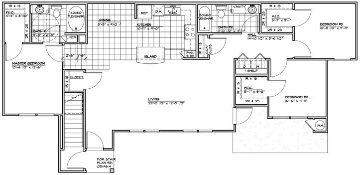 1,234 sq. ft. 60% floor plan