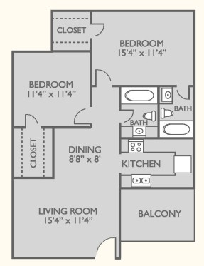 880 sq. ft. B-1 floor plan