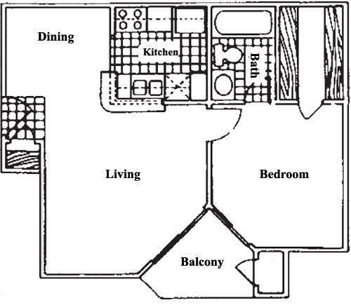 521 sq. ft. A1 floor plan