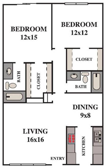 1,083 sq. ft. floor plan