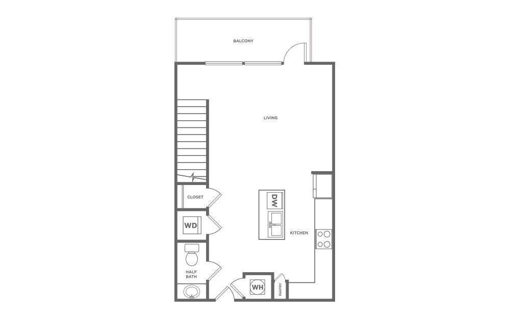 951 sq. ft. L1 floor plan