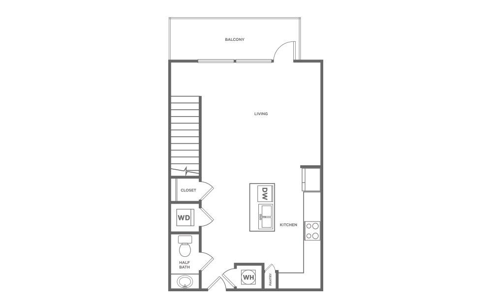 951 sq. ft. L1 floor plan