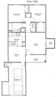 888 sq. ft. floor plan