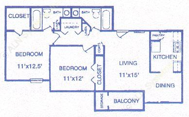 869 sq. ft. Flagstone floor plan